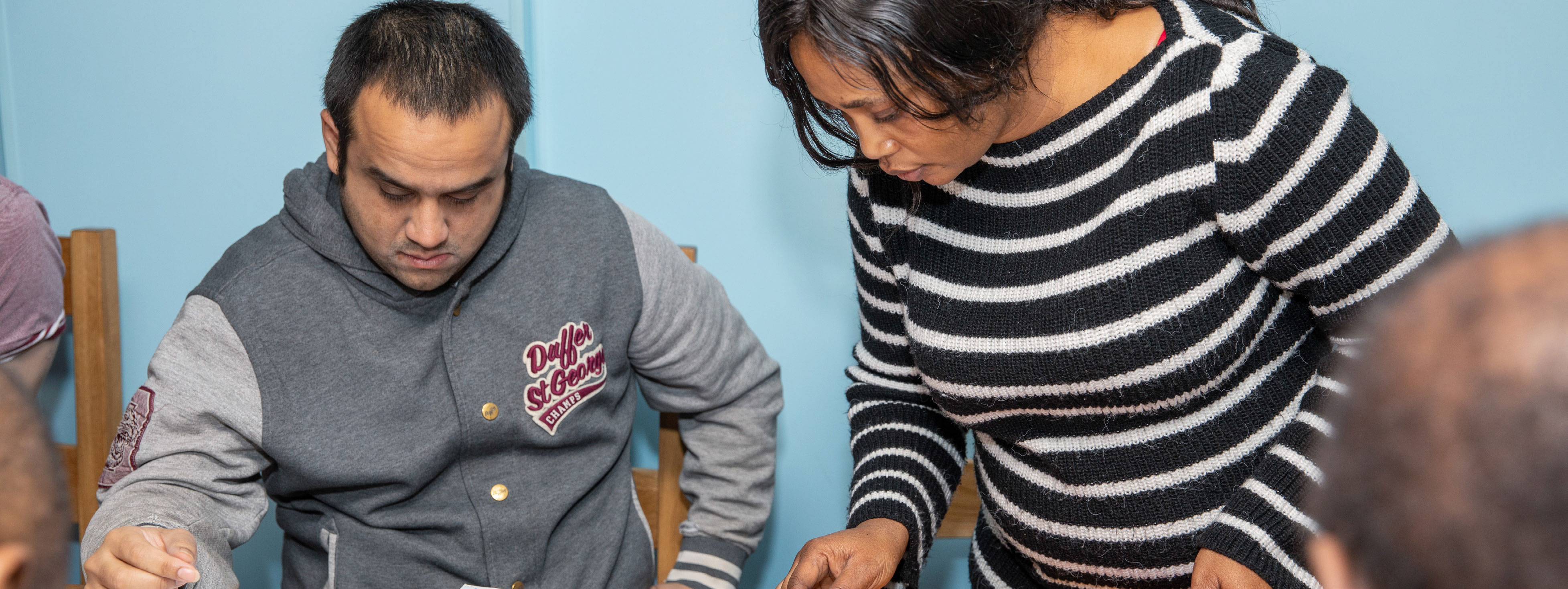 Carer and client working together